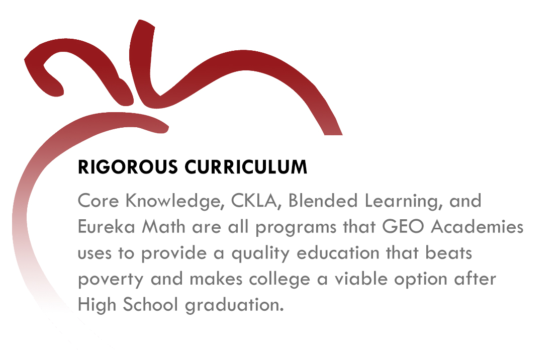 Rigorous Curriculum - Core Knowledge, CKLA, Blended Learning, and Eureka Math are all programs that GEO Academies use to provide a quality education that beats poverty and makes college a viable option after High School graduation.