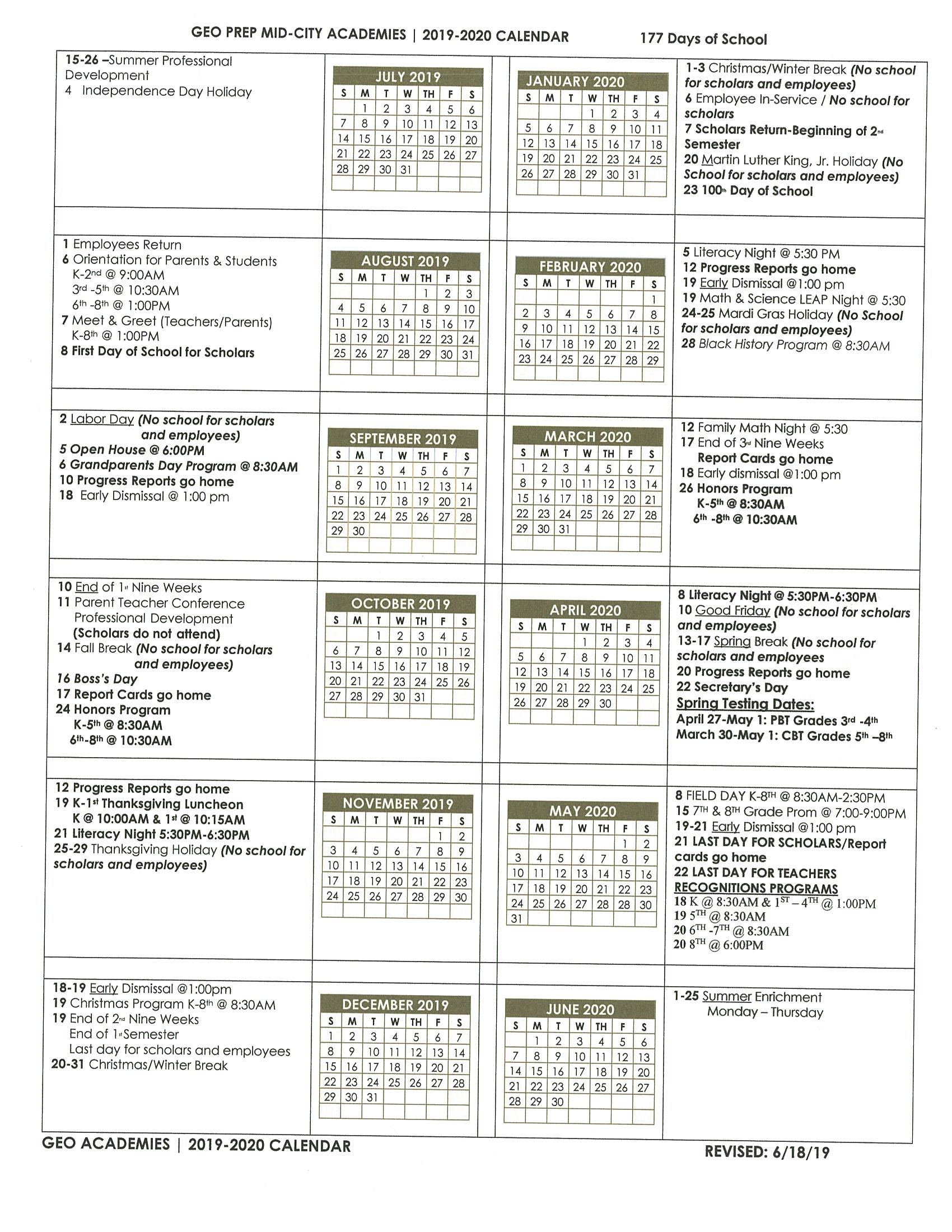 School Calendar – Geo Prep Mid City